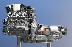 Hybrid car engine Royalty Free Stock Images