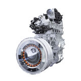 Hybrid car engine isolated on white with clipping path. Hybrid car engine isolated on white background with clipping path royalty free stock photos