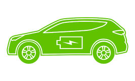 Hybrid car green icon. Electric powered environmental vehicle side view. Contour automobile with battery sign. Vector illustration Royalty Free Stock Photo