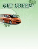 Hybrid Car Poster. A poster promoting a hybrid car using an eco-friendly fuel for environmental safety and cutting fuel costs royalty free illustration