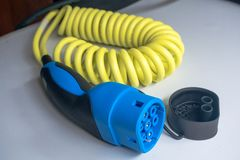 Hybrid car power charger cable cord.  stock images