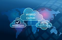 Hybrid Cloud Network diagram Private and Public infrastructure. Blue Background royalty free illustration