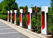 Hybrid electric car charging center Stock Image