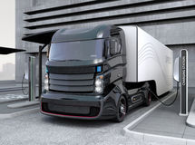 Free Hybrid Electric Truck Being Charging At Charging Station Royalty Free Stock Photo - 68714165