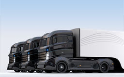 Hybrid electric trucks arranged in line Stock Images