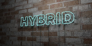 HYBRID - Glowing Neon Sign on stonework wall - 3D rendered royalty free stock illustration Stock Image