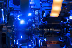 Hybrid modern car engine. Internal combustion Royalty Free Stock Images