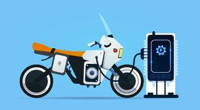 Hybrid Motor Bike Charging At Electric Charge Station  Royalty Free Stock Image