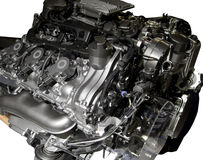 Hybrid car engine. Hybrid petrol and electric engine from Mercedes S-class car Royalty Free Stock Photos