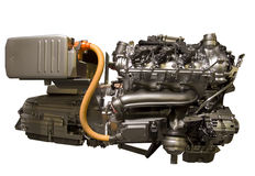 Hybrid car engine from s-class mercedes. Hybrid petrol and electric engine from Mercedes S-class car complete with transmission , battery pack and motor Royalty Free Stock Images