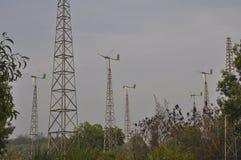 Hybrid power plants. (PLTH) Pandansimo replicate by creating a mini windmill windmills to make wind power and solar in the hamlet Ngentak, Poncosari, Srandakan Royalty Free Stock Photo