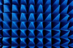 Hybrid pyramidal RF absorbers close up. Blue soft hybrid pyramidal microwave and radio frequency absorbers close up stock image