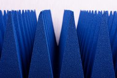 Hybrid pyramidal RF absorbers close up. Blue soft hybrid pyramidal microwave and radio frequency absorbers close up stock photo