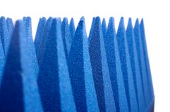 Hybrid pyramidal RF absorbers close up. Blue soft hybrid pyramidal microwave and radio frequency absorbers close up stock images