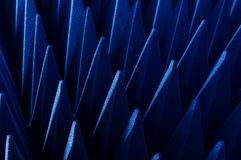 Hybrid pyramidal RF absorbers close up. Blue soft hybrid pyramidal microwave and radio frequency absorbers close up stock photos