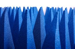 Hybrid pyramidal RF absorbers close up. Blue soft hybrid pyramidal microwave and radio frequency absorbers close up royalty free stock photos
