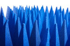 Hybrid pyramidal RF absorbers close up. Blue soft hybrid pyramidal microwave and radio frequency absorbers close up royalty free stock images