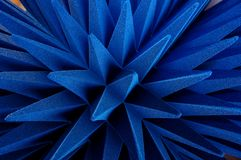 Hybrid pyramidal RF absorbers close up. Blue soft hybrid pyramidal microwave and radio frequency absorbers close up stock photography