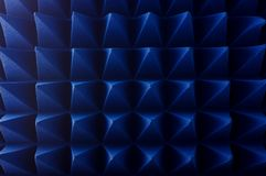 Hybrid pyramidal RF absorbers close up. Blue soft hybrid pyramidal microwave and radio frequency absorbers close up royalty free stock image