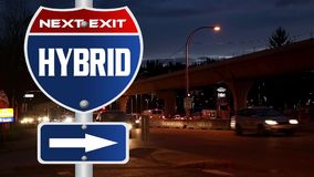 Hybrid road sign stock video footage