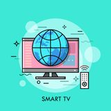 Hybrid or smart TV displaying content from website. Concept of television set with internet connection, modern technology or technological convergence. Vector Royalty Free Stock Photos