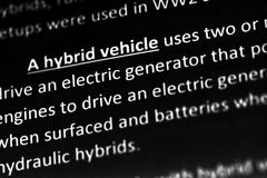 A hybrid vehicle explanation or description in dictionary or article. A hybrid vehicle explanation or description in dictionary or article royalty free stock photography