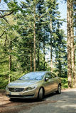 Hybrid Volvo S60 executive car parked in the middle of green for Royalty Free Stock Photography