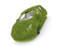 Hybride auto. De auto van de ecologie. Groene grasauto vector illustratie