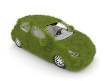 Hybride auto. De auto van de ecologie. Groene grasauto Royalty-vrije Stock Afbeeldingen