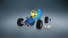 Hybrides Auto, elektronisch, Wasserstoff, Lithium-Ionen-Batterie-Echoauto Illustrationsbild umweltfreundliches zukünftiges Auto stock abbildung