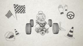 Hybrides Auto, elektronisch, Wasserstoff, Lithium-Ionen-Batterie-Echoauto Skizzenbild umweltfreundliches zukünftiges Auto lizenzfreie abbildung