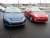 Hybrydowi samochody: Toyota Prius i Honda wgląd Obraz Royalty Free