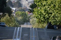 Hyde and lombard street in san francisco train stock photography
