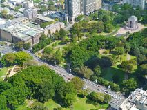Hyde park from above. Anzac war memorial in hyde park in Sydney in Australia seen from the skydeck of the Sydney tower Stock Photography
