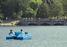 Hyde Park Boating. Relaxing in Summer in Hyde Park, London Royalty Free Stock Image