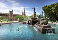 Hyde Park & Cathedral, Sydney, Australia Stock Image