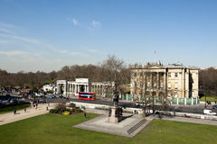 Hyde Park Corner. A view towards Hyde Park and hyde park corner, London.  Apsley house can also be seen on the right hand side Stock Images