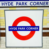 Hyde Park Corner tube station sign - London Underground roundel. 25 April 2012: The identifying sign for the London Underground (tube) station on a platform at Stock Image