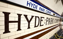 Hyde Park Corner underground station, London Stock Images