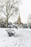 Hyde Park covered in snow with Albert Memorial in the background Royalty Free Stock Photography