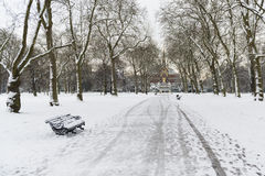 Hyde Park covered in snow with Albert Memorial in the background Stock Photos