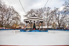 Hyde Park Ice Rink. LONDON - DECEMBER 3: The Hyde Park Winter Wonderland Fair's ice rink being prepared for the afternoons public skating session on December 3 Royalty Free Stock Photography