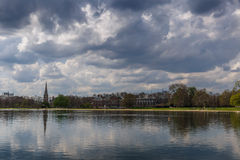 Hyde park and Kensington on cloudy day Royalty Free Stock Image