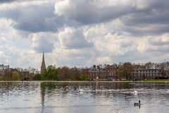 Hyde park and Kensington on cloudy day Royalty Free Stock Photography