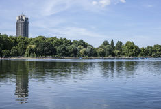 Hyde Park, the lake. This image shows the lake in Hyde Park, London. It was taken on a sunny day in August 2017 Royalty Free Stock Photos