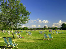 Hyde park in London. Deckchairs in Hyde park, London Stock Images