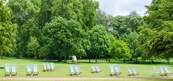 Hyde Park, London, England. Deck Chairs in Hyde Park, London, England Royalty Free Stock Photography
