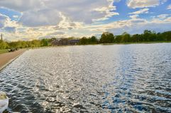 Hyde Park London. Photo of Kensington Palace and Hyde Park Lake, London, UK Royalty Free Stock Images