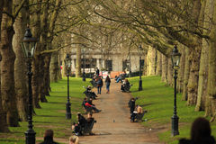 Hyde Park in London. In Spring. People enjoying a nice sunny day Royalty Free Stock Images