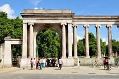 Hyde Park. LONDON, UK - JULY 9, 2014: Tourists enter the famous Hyde Park in London Stock Photography